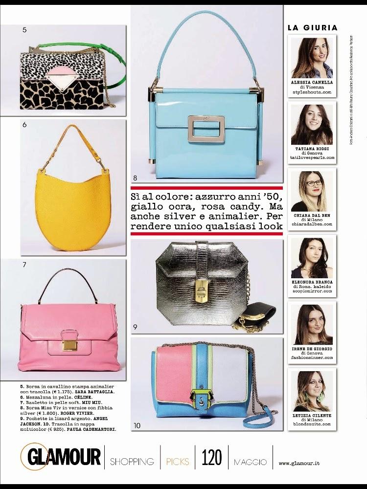 Tatiana Biggi - Tati loves pearls - press - Glamour Italia maggio - fashion blogger - it bag primavera - borse 2014