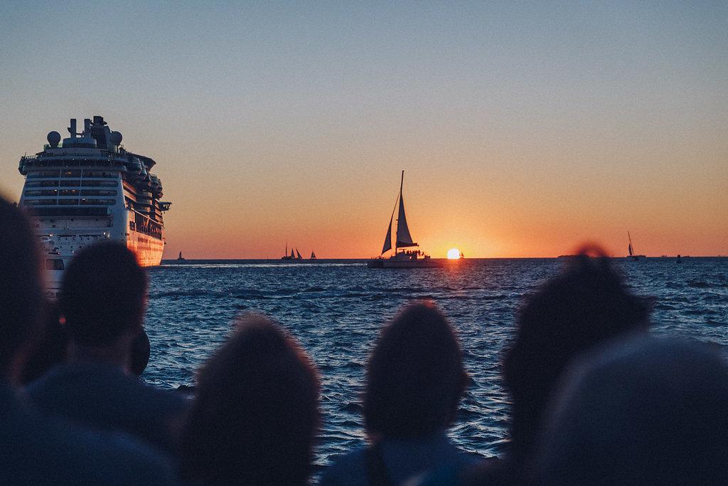 Il tramonto a Key West da Mallory Square